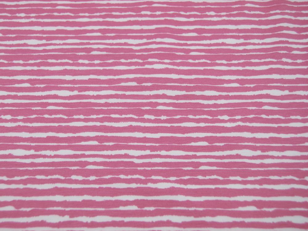 Jersey Wilde Streifen in Rosa Weiß