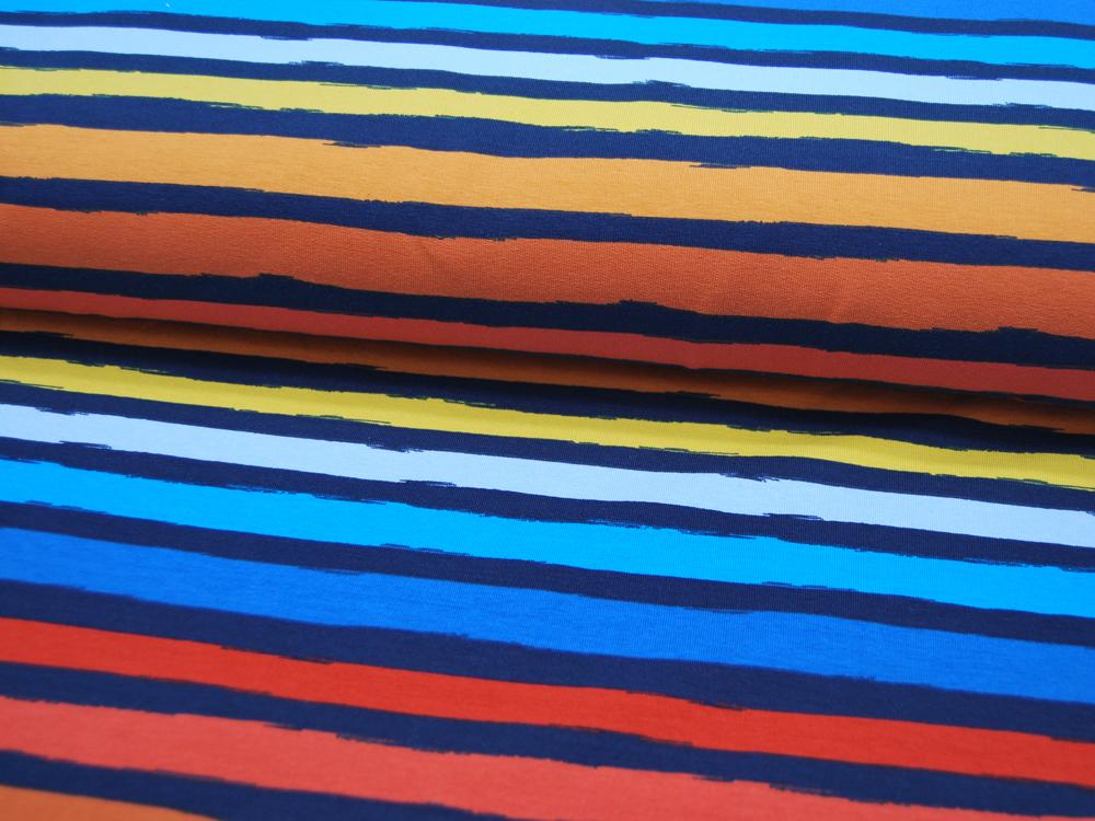 French Terry Stripes Bunte Streifen auf