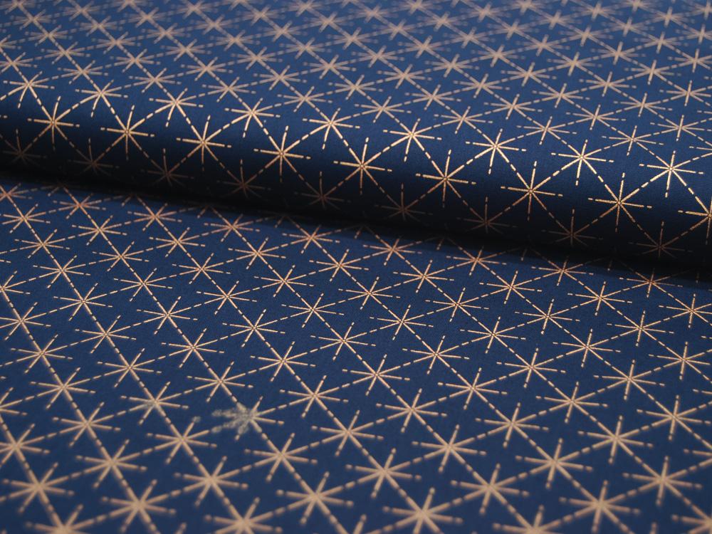 Baumwolle Popeline Weihnachten Sterne in Kupfer