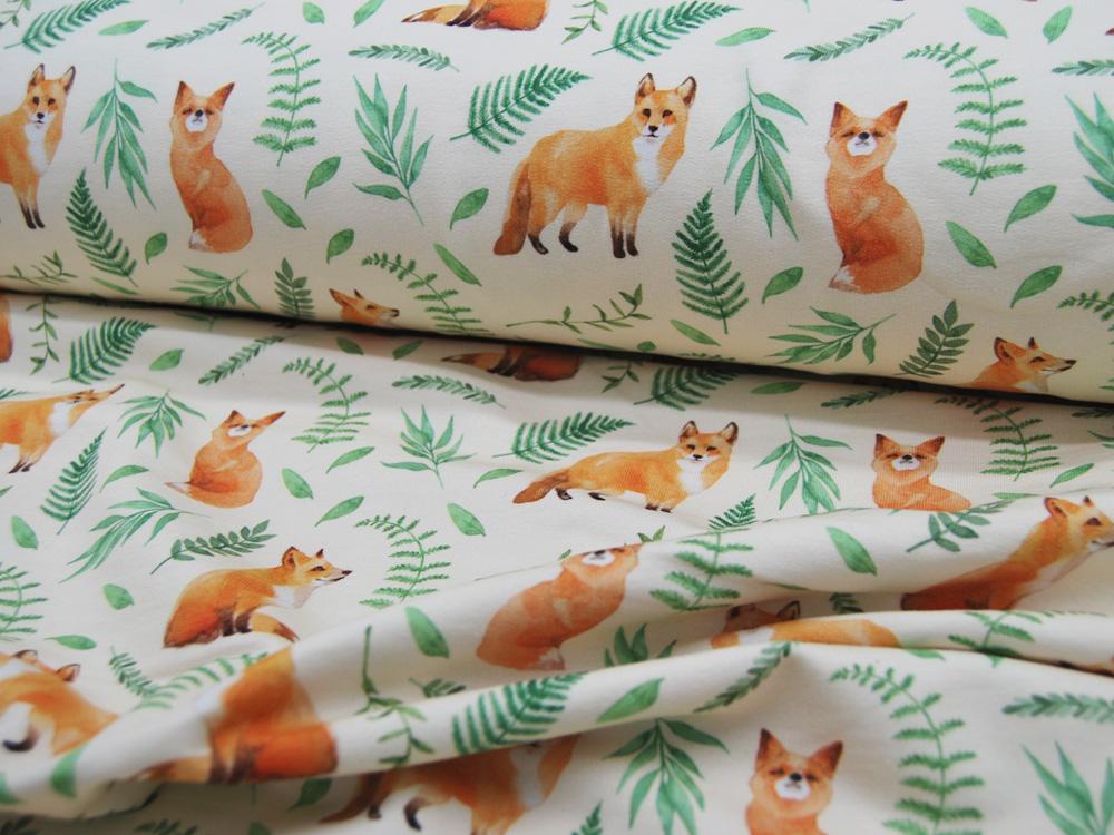 French Terry Füchse Foxes auf Beige