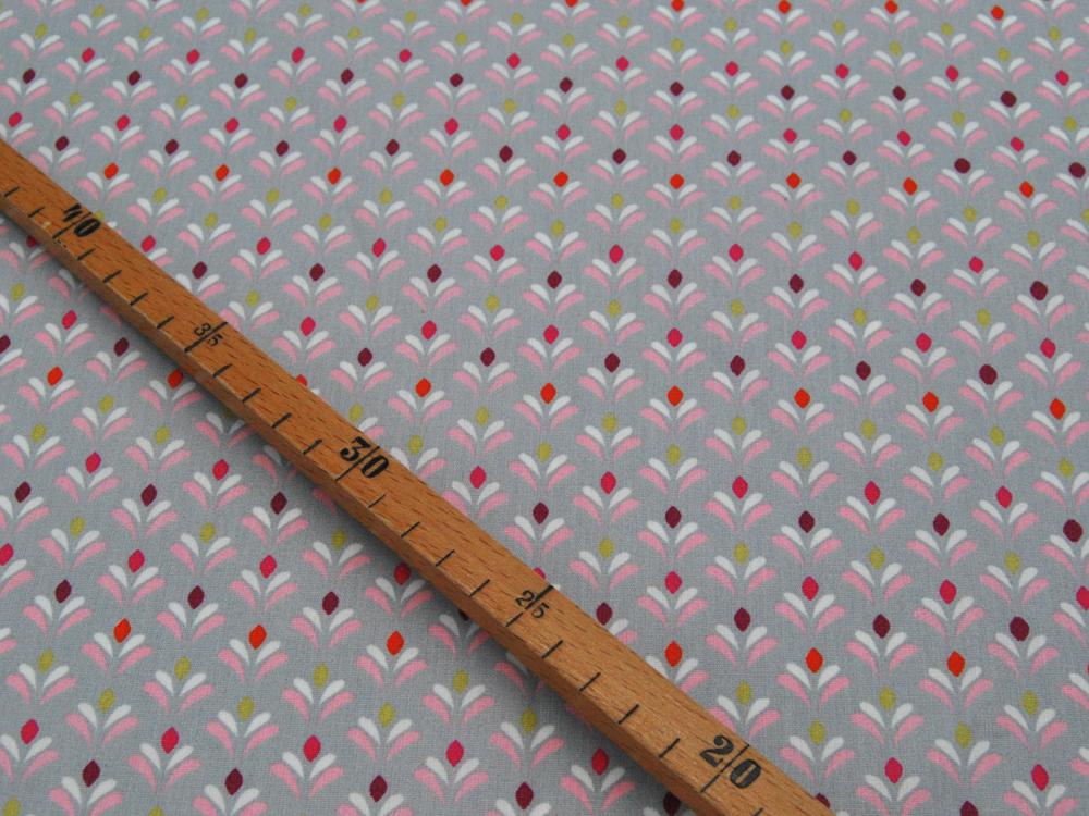 Beschichtete Baumwolle Blütenmuster auf Grau 50x145cm