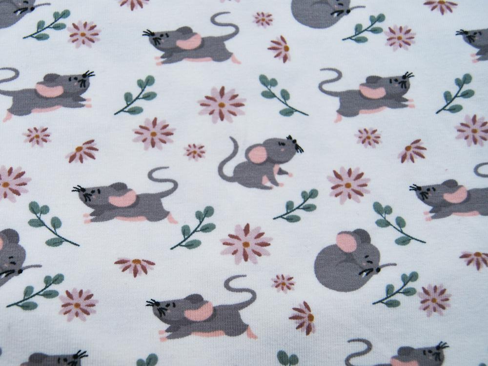 Jersey Kleine Mäuse auf Grauweiß Meter