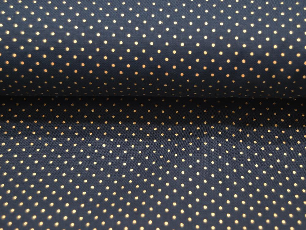 Nachtblaue Baumwolle mit goldenen Minipunkte Meter