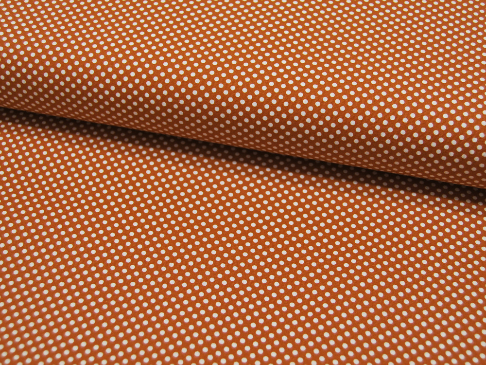 Baumwolle - Kleine Punkte auf Terracotta