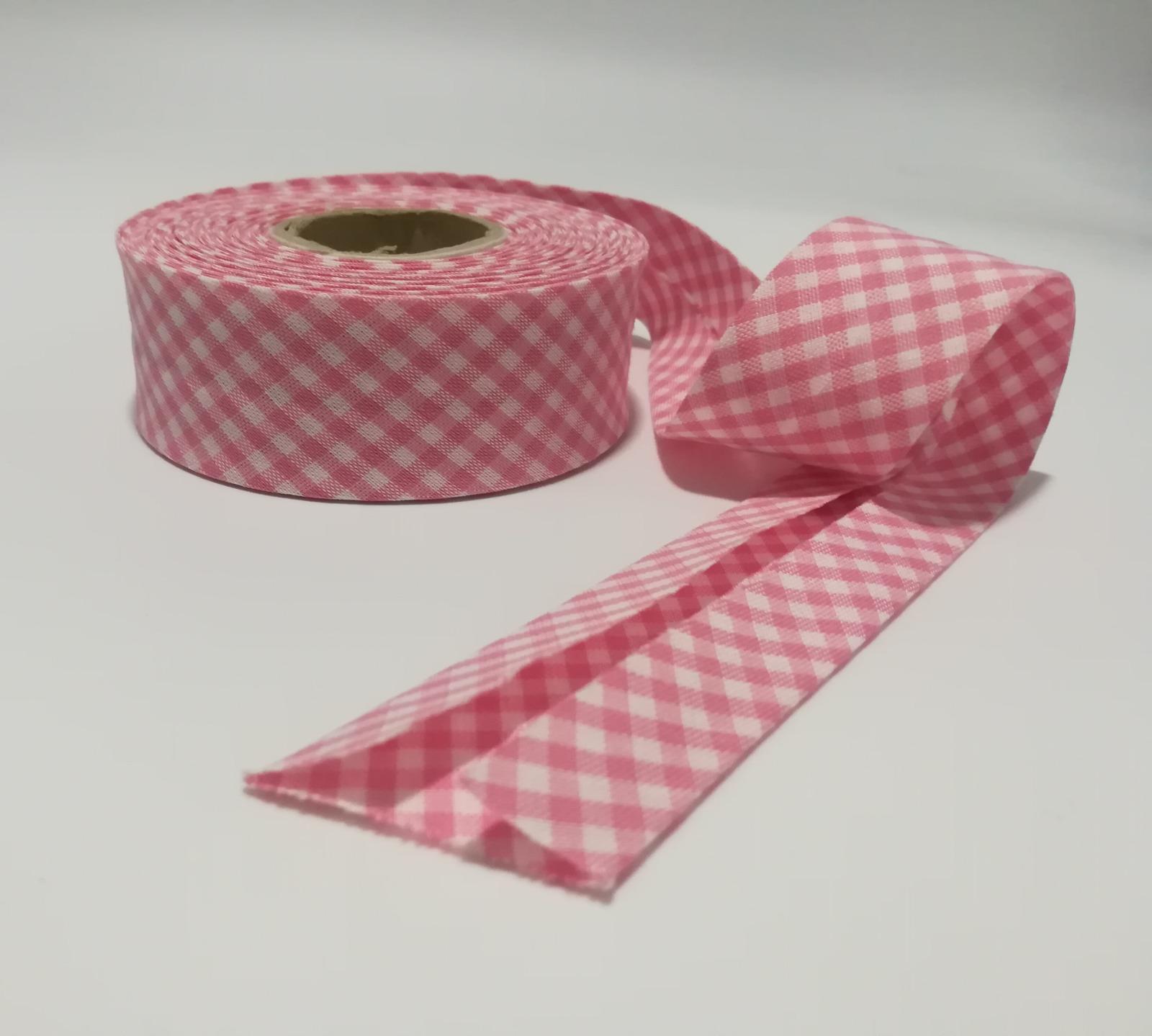 Schrägband Meter 3cm breit in Rosa-Weiß