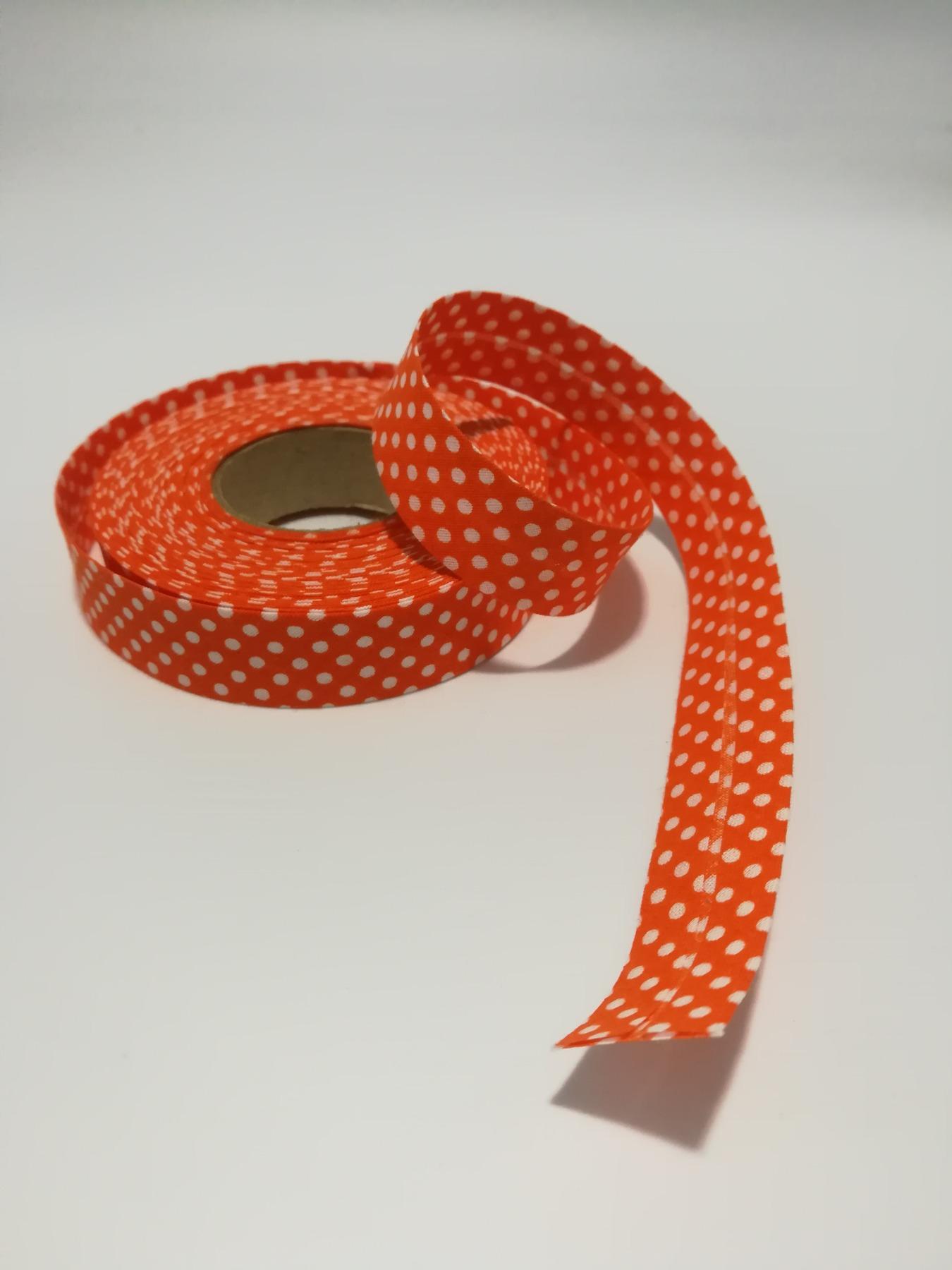Schrägband Meter in Orange mit weißen