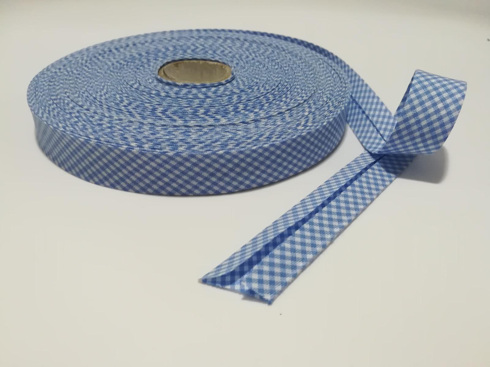 Schrägband 1 Meter hellblau-weiß kariert