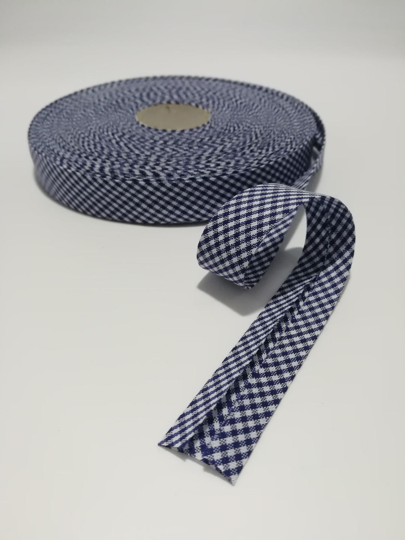 Schrägband 1 Meter dunkelblau-weiß kariert