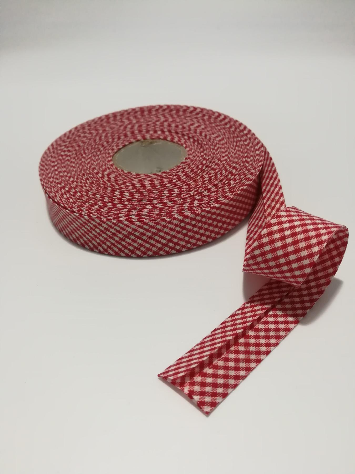 Schrägband 1 Meter rot-weiß kariert