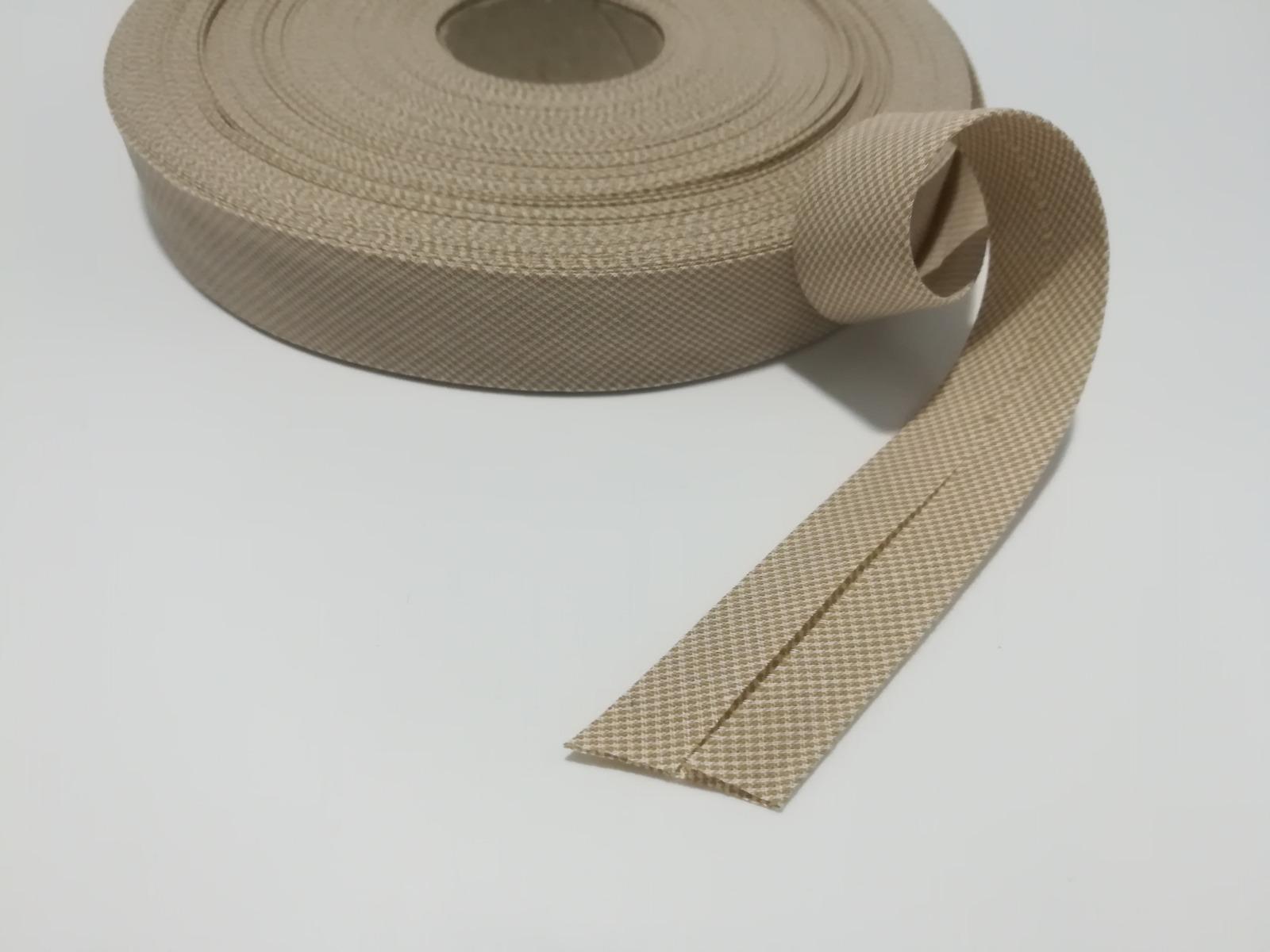 Schrägband 1 Meter beige-weiß Hahnentritt