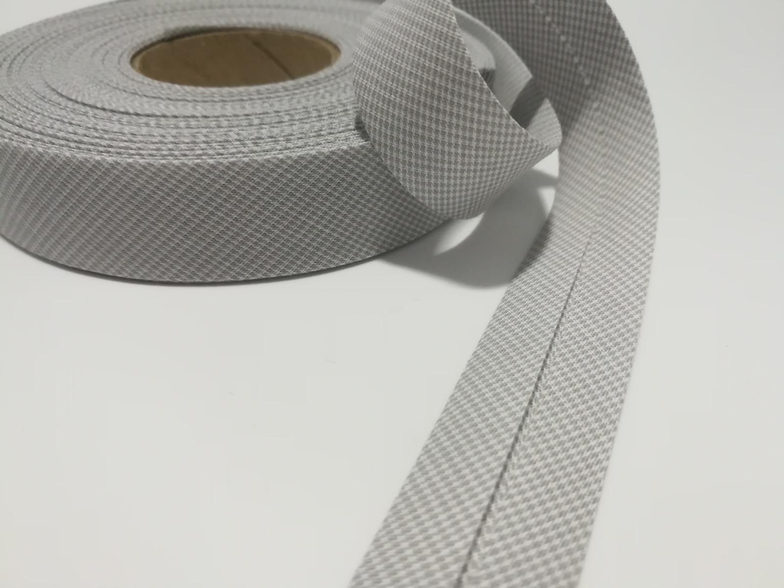 Schrägband 1 Meter hellgrau-weiß Hahnentritt