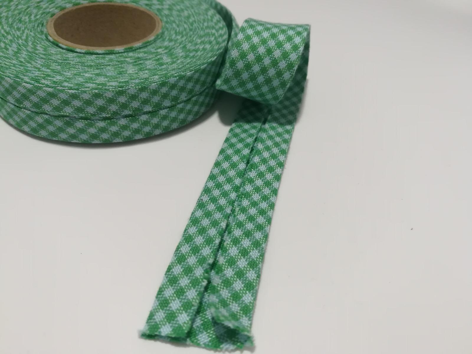 Schrägband 1 Meter grün-mint kariert