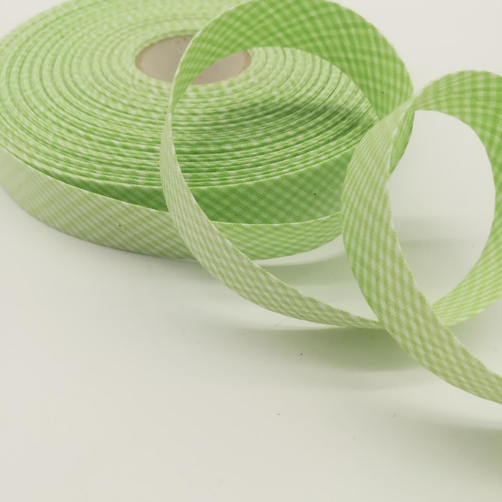 Schrägband 1 Meter hellgrün-weiß kariert