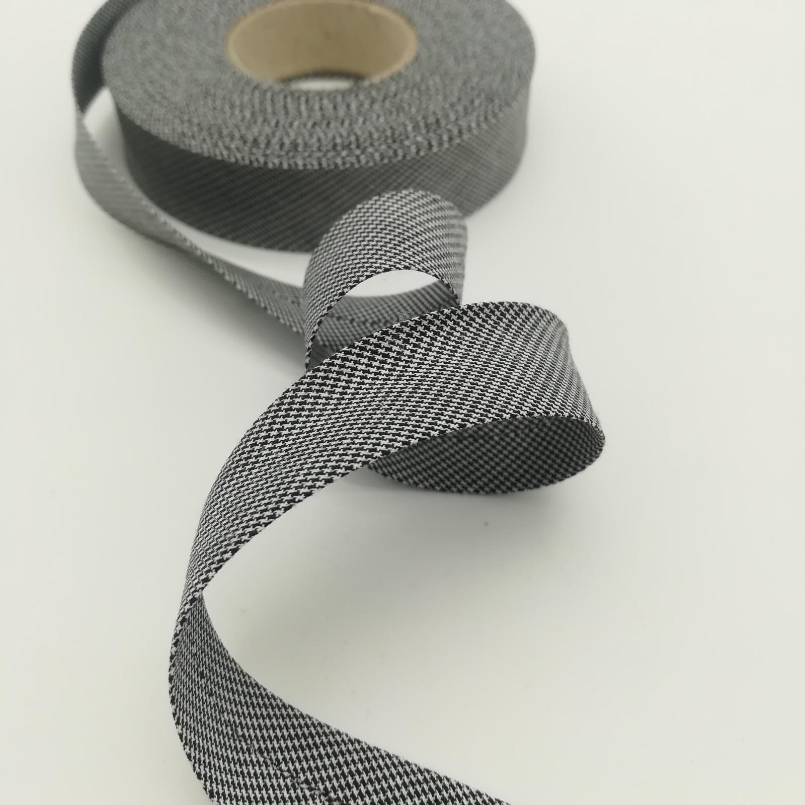 Schrägband 1 Meter schwarz-weiß Hahnentritt