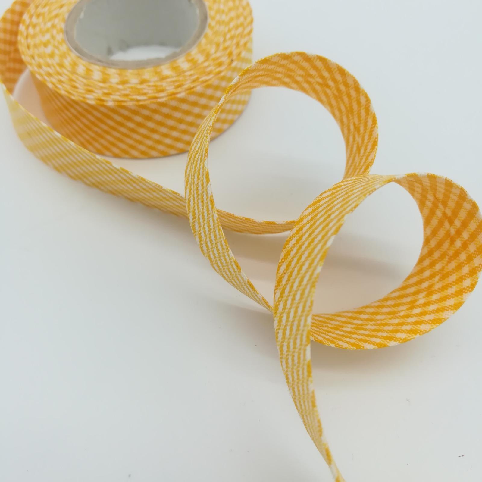 Schrägband 1 Meter gelb-weiß kariert