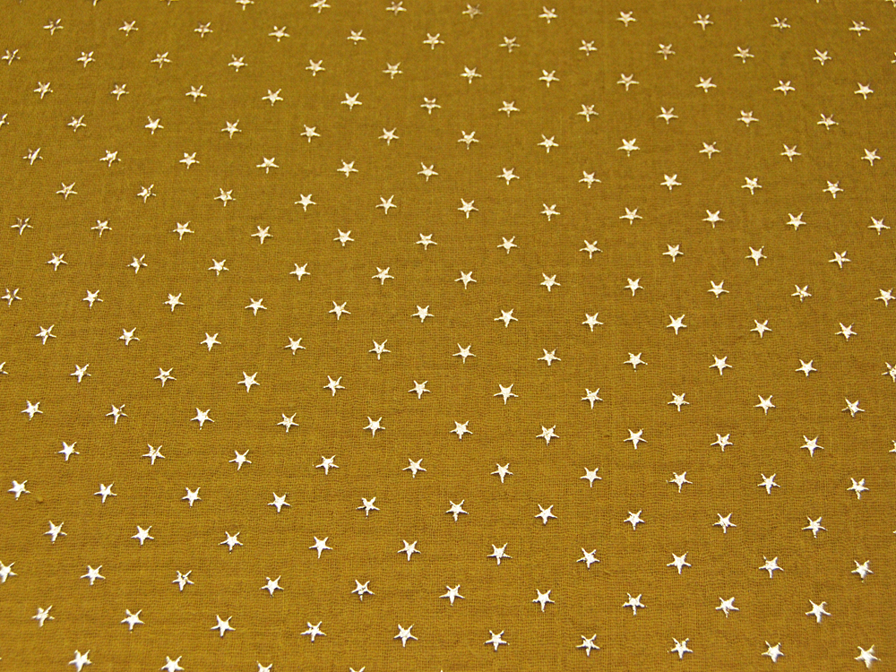Musselin/Double Gauze - Gold Star - Ocker 0,5 m