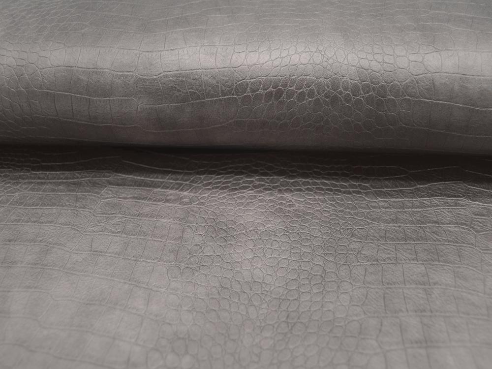 Kunstleder mit Muster auf Grau Taupe