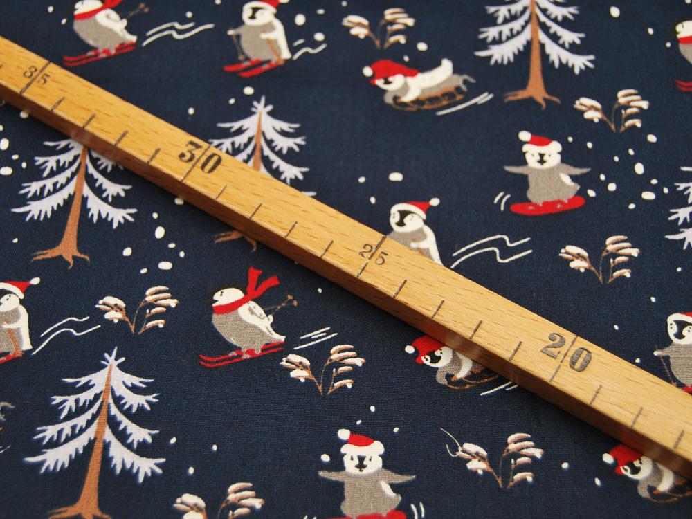 Baumwolle Poplin Weihnachten Skiing Pinguine mit