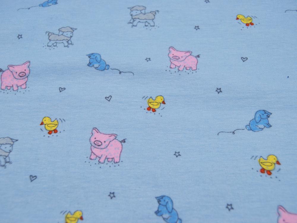 Jersey - Tierbabys auf Hellblau -