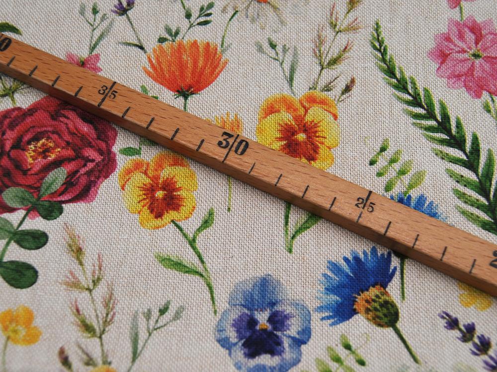 Dekostoff Blumen auf Beige Ulrich 05m