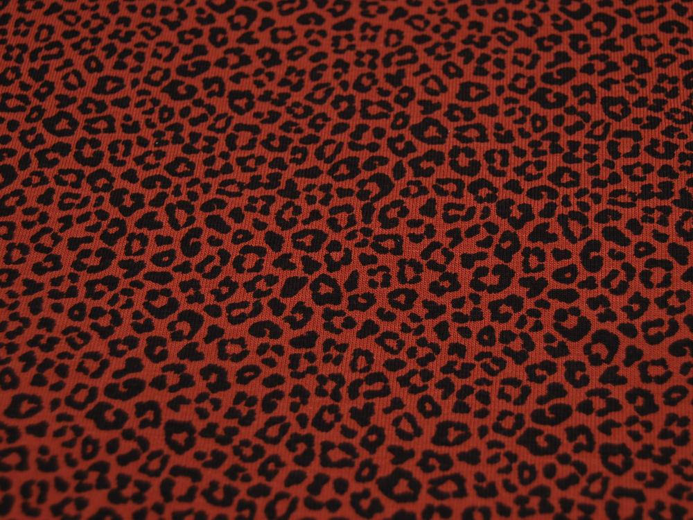 Jersey Leopard in Stone Dunkelrot Meter