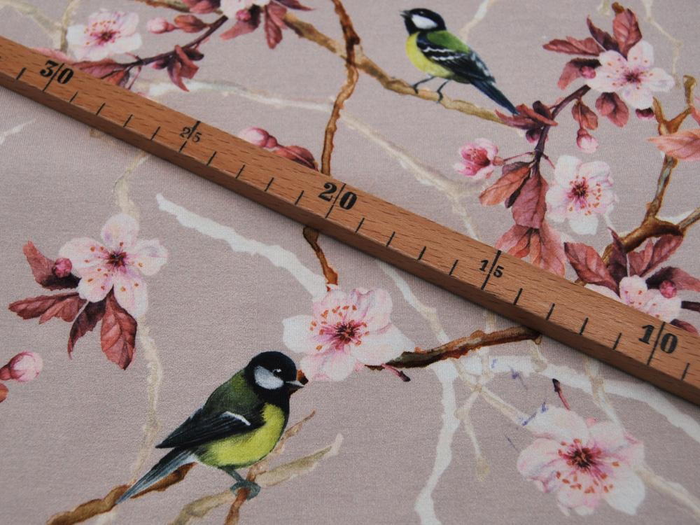 Jersey DIGITAL Blumen und Vögel auf