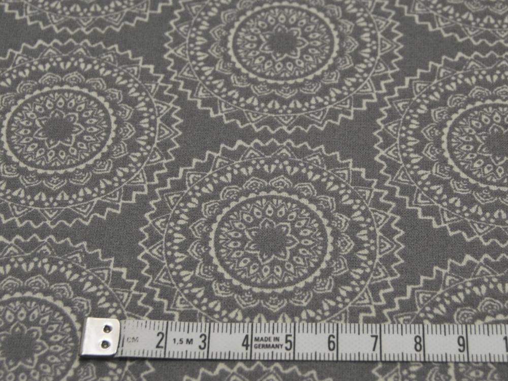 Beschichtete Baumwolle Ornamente Dunkelgrau/Weiß 50x65 cm
