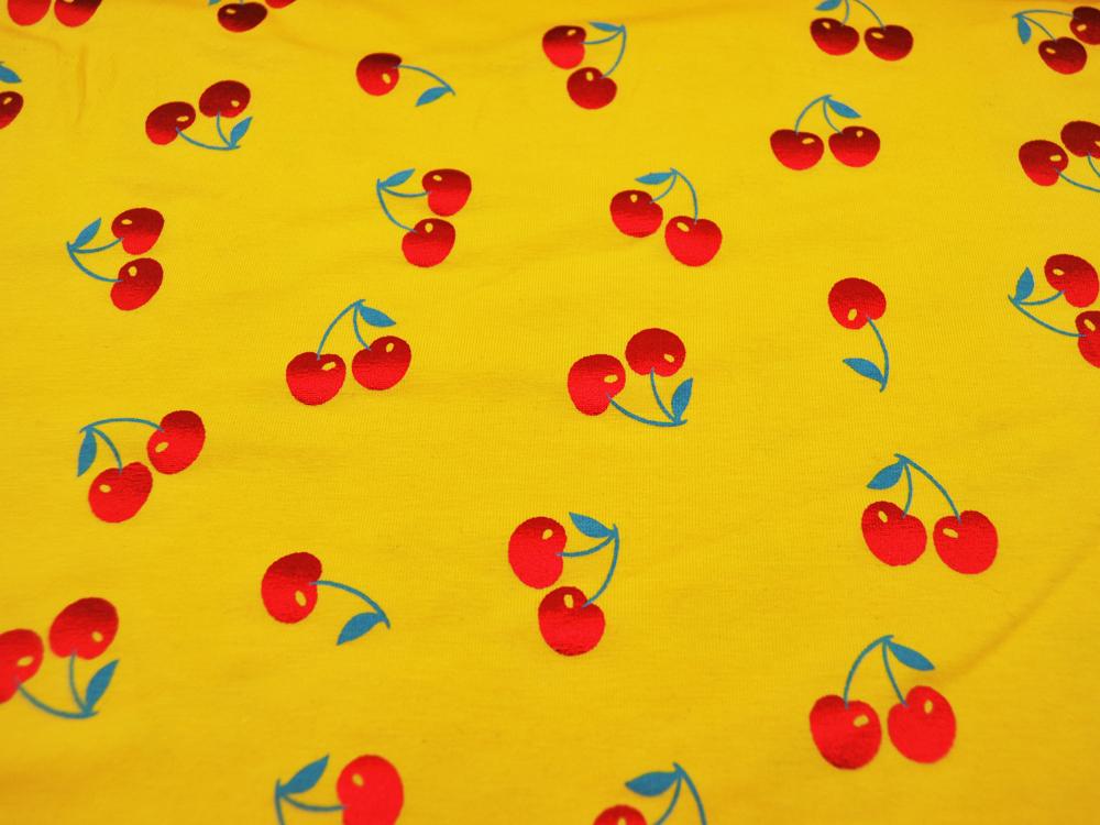 Jersey Rote Glitzer Kirschen auf Gelb