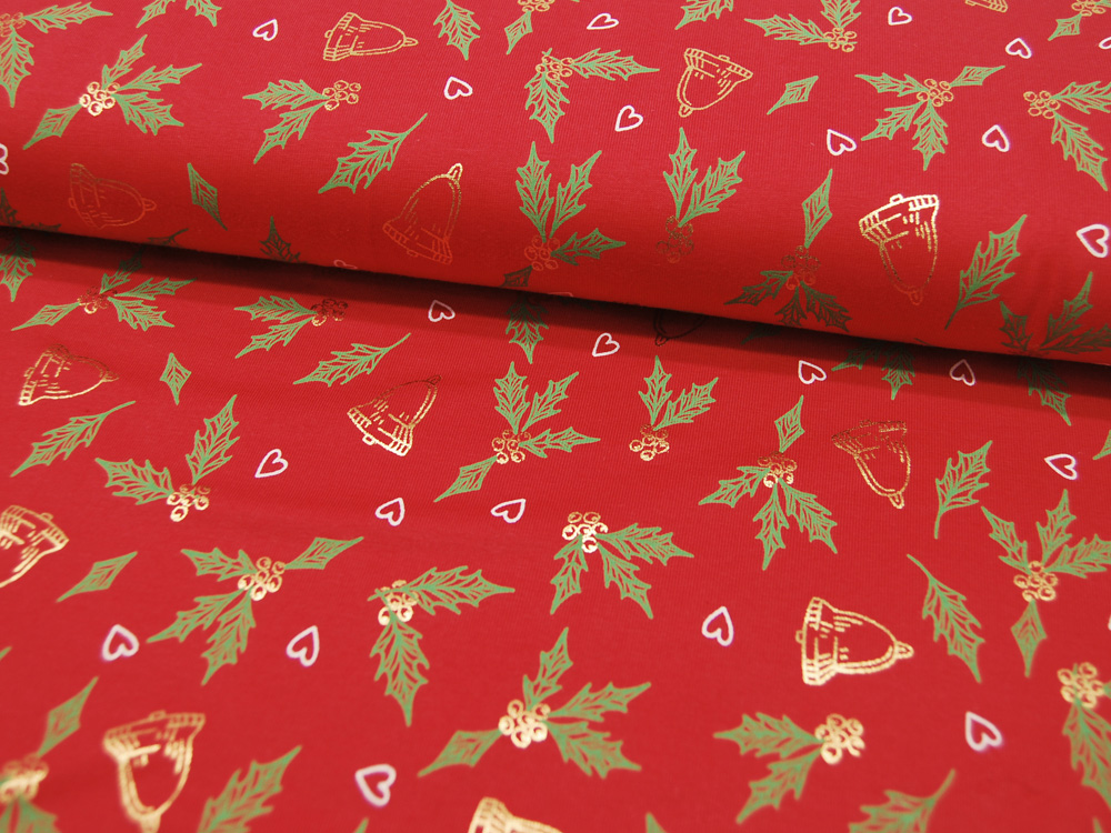 Beschichtete Baumwolle Blumenmuster auf Rot 50x69cm