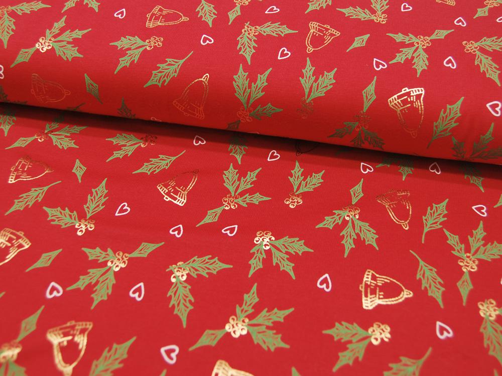 Beschichtete Baumwolle Blumenmuster auf Rot 50x69cm - 1