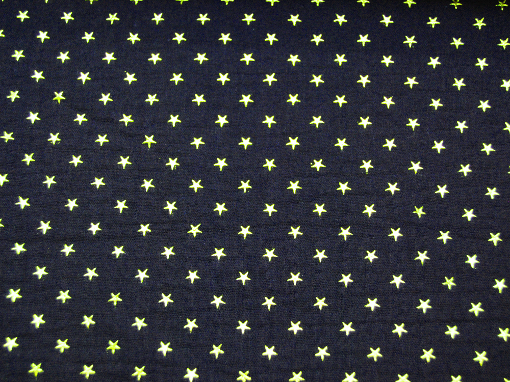 Musselin/Double Gauze - Gold Star - Dunkelblau 0,5 m