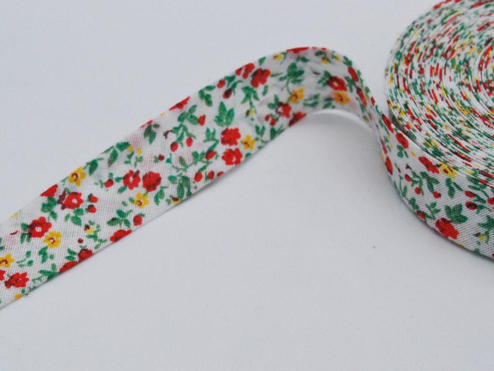Schrägband 1 Meter - Blumenmuster Rot-Gelb-Grün