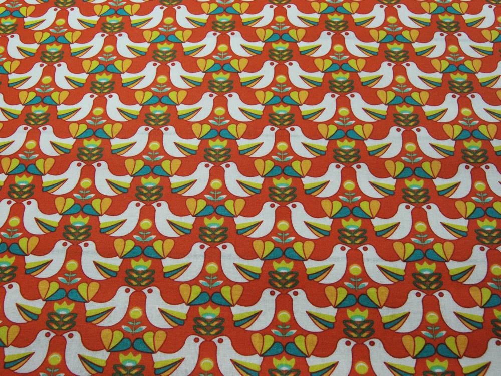Beschichtete Baumwolle Vogelmuster auf Rotorange 145cm