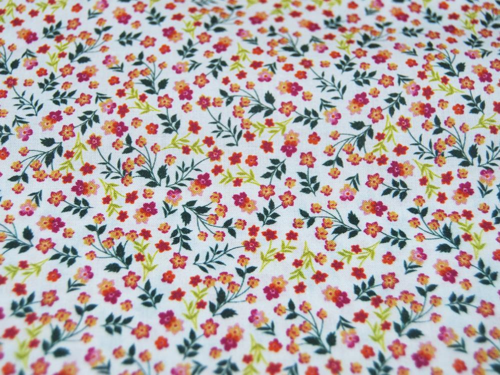 Baumwolle Digital Flowers Kleine Streublümchen leichte