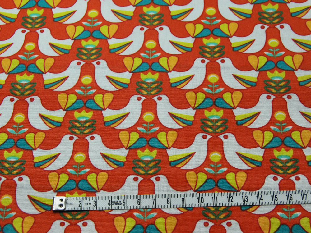 Beschichtete Baumwolle - Vogelmuster auf Rotorange 50 x75 cm - 2
