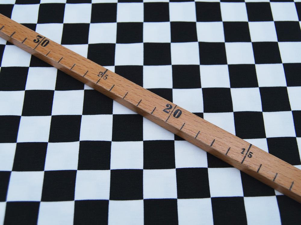 Jersey Check cm- Schwarz Weiß Karo