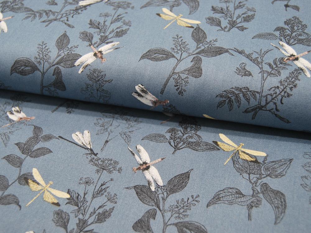 ORGANIC Baumwolle DRAGONFLY Libellen auf Dusty