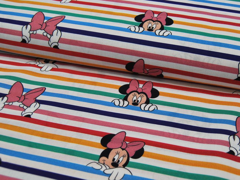 Baumwolle Minnie Mouse auf bunten Streifen