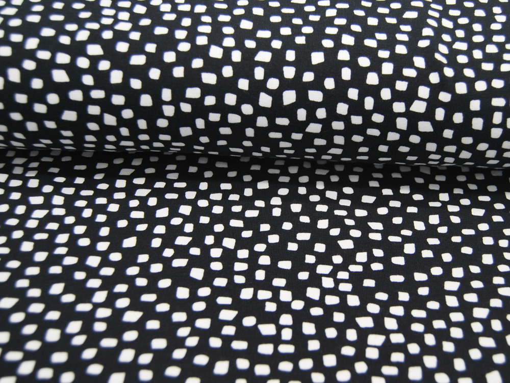 Jersey GOTS SHAPES Weiß auf Schwarz