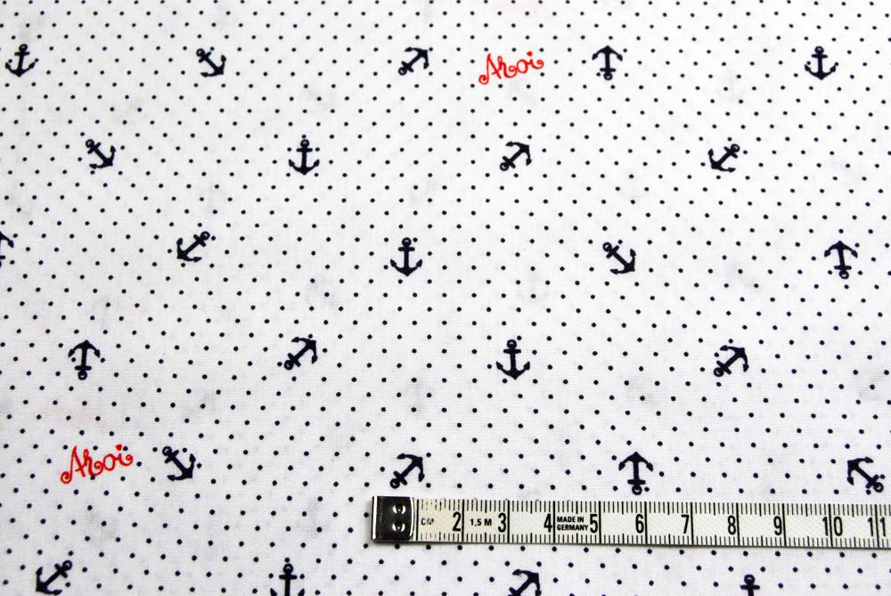 Mini Polka Ahoy - Anker und Minipunkte auf Weiss - Baumwolle 0 5m