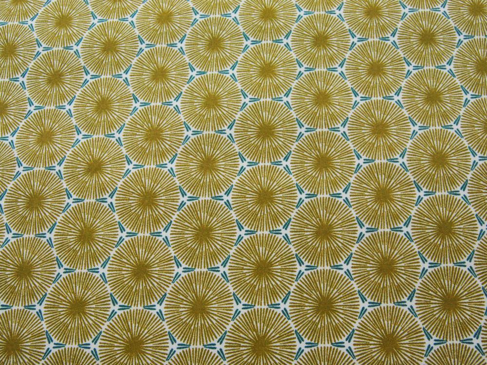Beschichtete Baumwolle - Graphisches Muster in Senf mit Petrol - 50 x 75 cm - 1