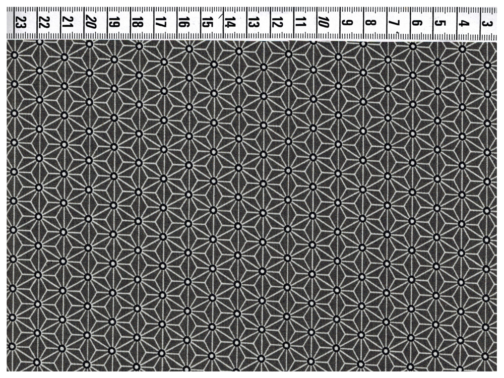 Beschichtete Baumwolle Asanoha Dunkelgrau / Schwarz 50 x 76 cm - 1