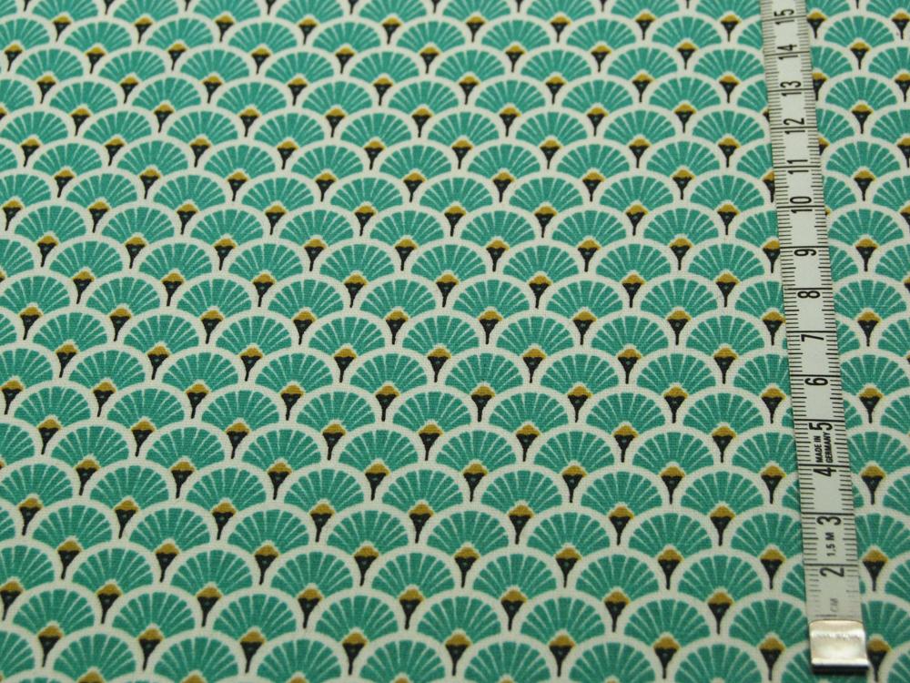 Beschichtete Baumwolle - Fächermuster Türkis 50