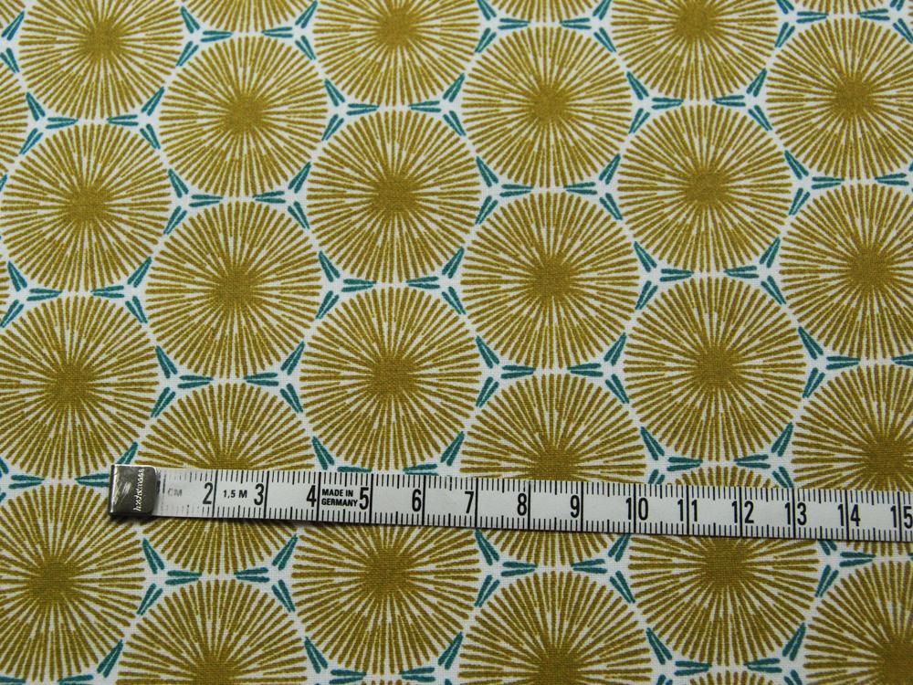 Beschichtete Baumwolle - Graphisches Muster in Senf mit Petrol - 50 x 75 cm - 2