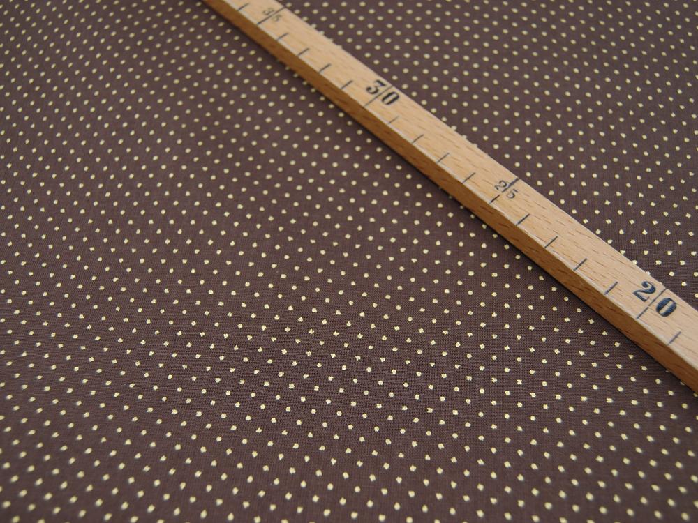Schokobraune Baumwolle mit goldene Minipunkte Meter