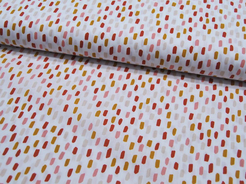 Baumwolle Poplin Rainbow Striche Altrosa-Senf auf