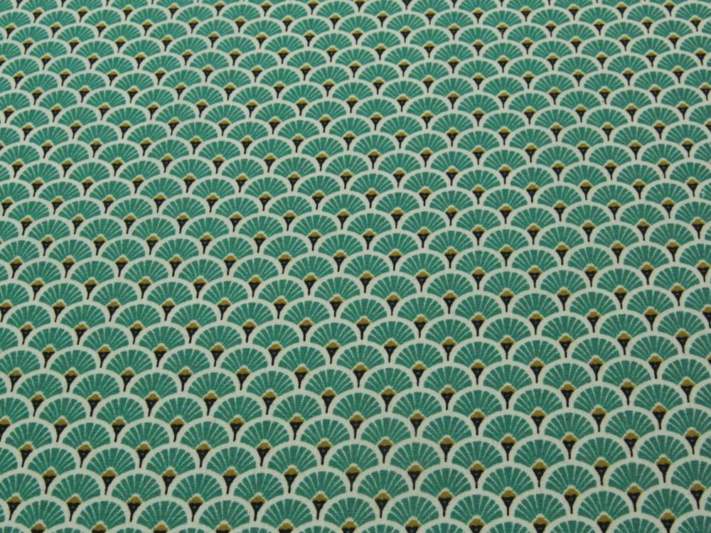 Beschichtete Baumwolle - Fächermuster Türkis 50 x75 cm