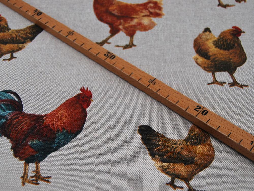 Dekostoff Bunte Hühner auf Natur 05m