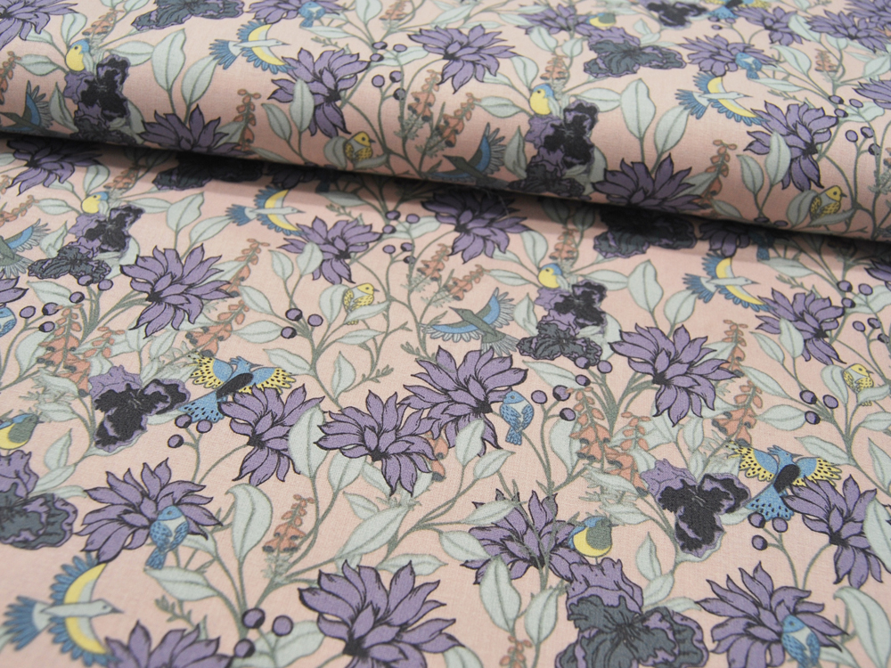 Baumwolle Flowers Blumen und kleine Vögel