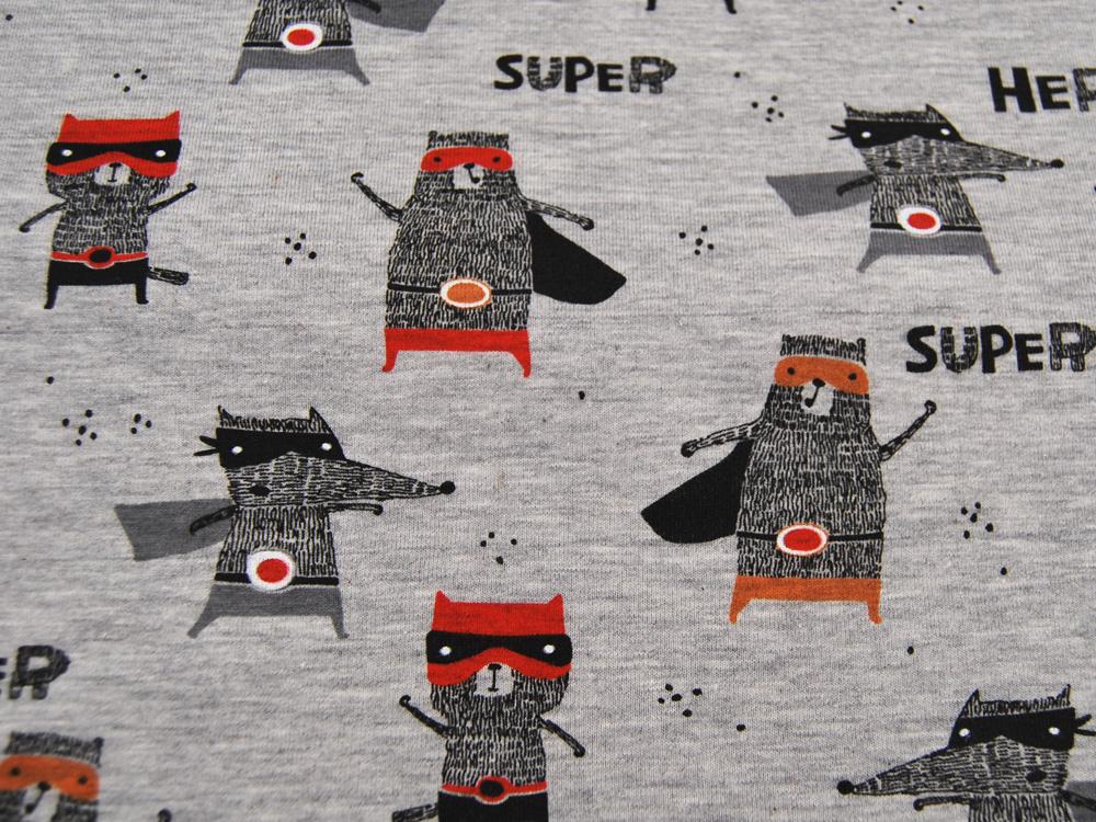 Jersey Super Hero Superhelden auf Graumeliert